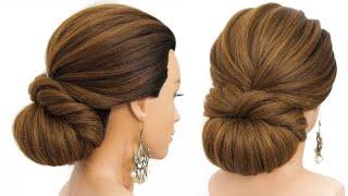 Легкие и быстрые прически на длинные волосы Красивый низкий пучок