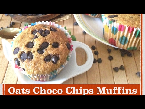 Oats Choco chips Muffins | How to make Moist Oats Chocolate chips Muffins | Healthy Oatmeal Recipe