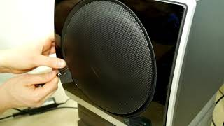 How to remove Logitech Z Cinema grill + subwoofer excursion bass test