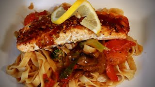 GARLIC SALMON AMAZING SALMON DISH SERVING WITH TAGLIATELLE PASTA Recipe By Chef Ricardo Cooking