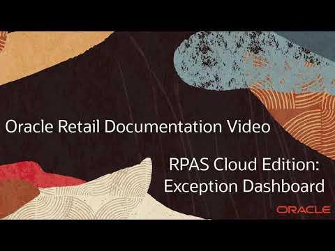 Retail Documentation–RPAS Cloud Edition: Exception Dashboard