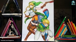 Drawing Linkle and Link - Hyrule Warriors Legends