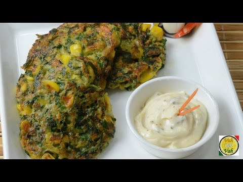 spinach and corn fritters  - By Vahchef @ vahrehvah.com