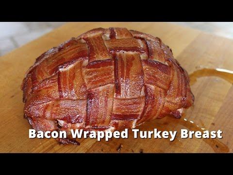 Bacon Wrapped Turkey Breast   Smoked Boneless Turkey Breast on Big Green Egg