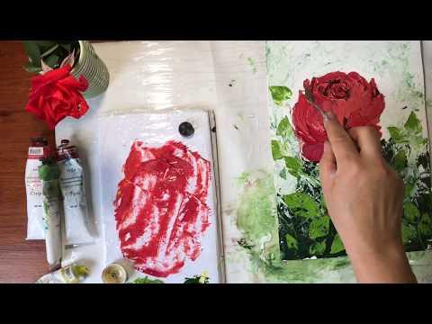 Как рисовать розу маслом и мастихином видеоурок