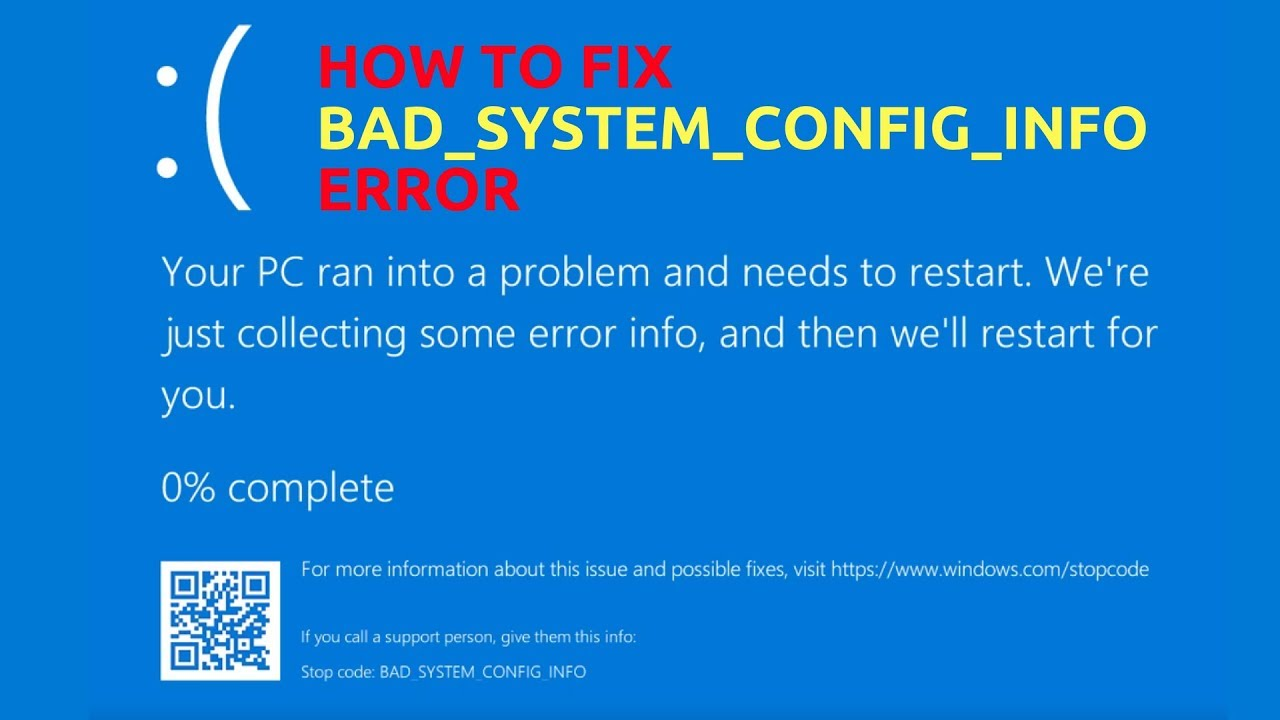 How To Fix Bad System Config Info Error Youtube