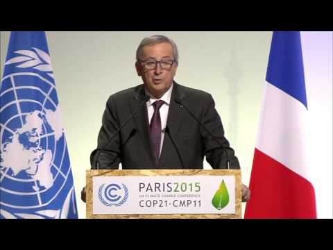 President Jean Claude-Juncker addresses high level plenary meeting at opening of COP21