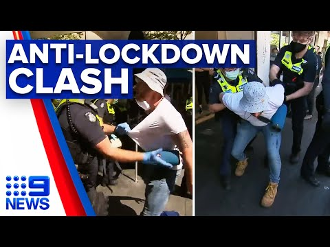 Coronavirus: Anti-lockdown protesters clash with police in Melbourne | 9 News Australia