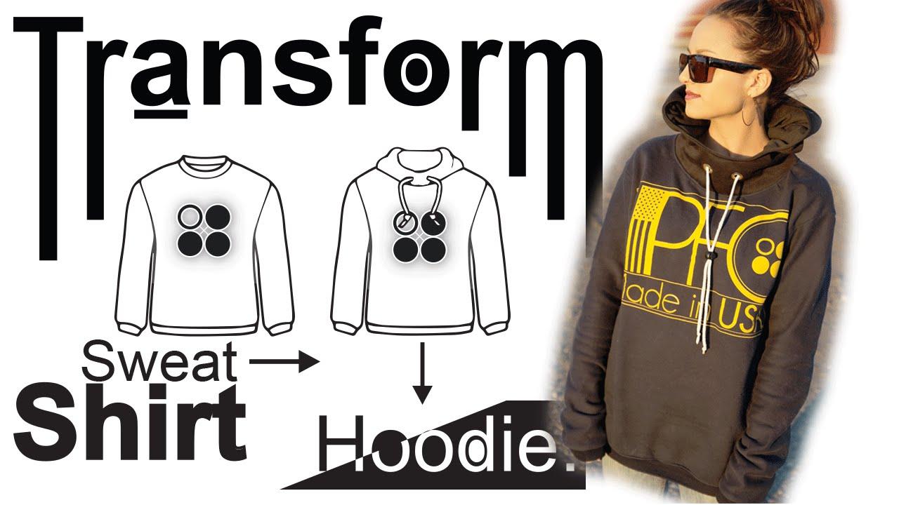 182d9a5e2 Easy DIY Transformation: Crewneck Sweatshirt into Hoodie - YouTube