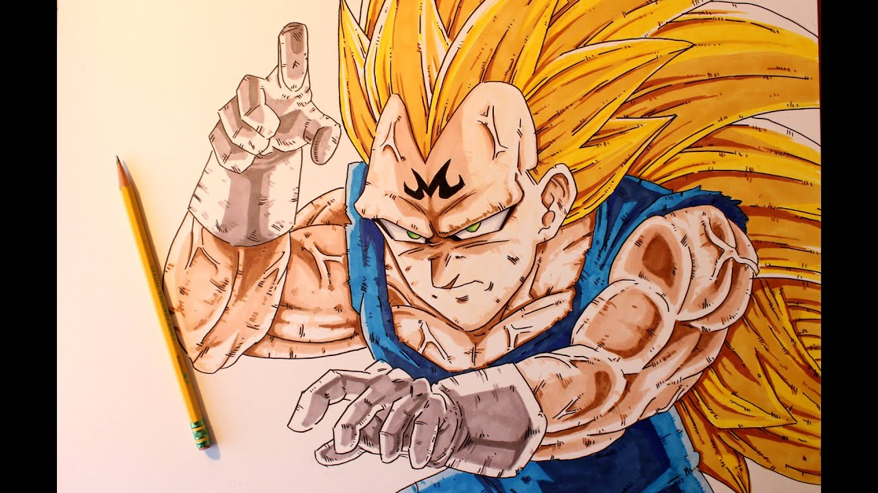 Drawing Vegeta Ssj3 Super Saiyan 3 Youtube