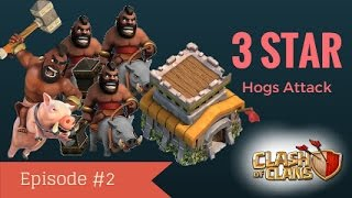 Town hall 8(th8) 3 star attacking strategy(Hog Riders strategy)/clan war-clash of clans #2