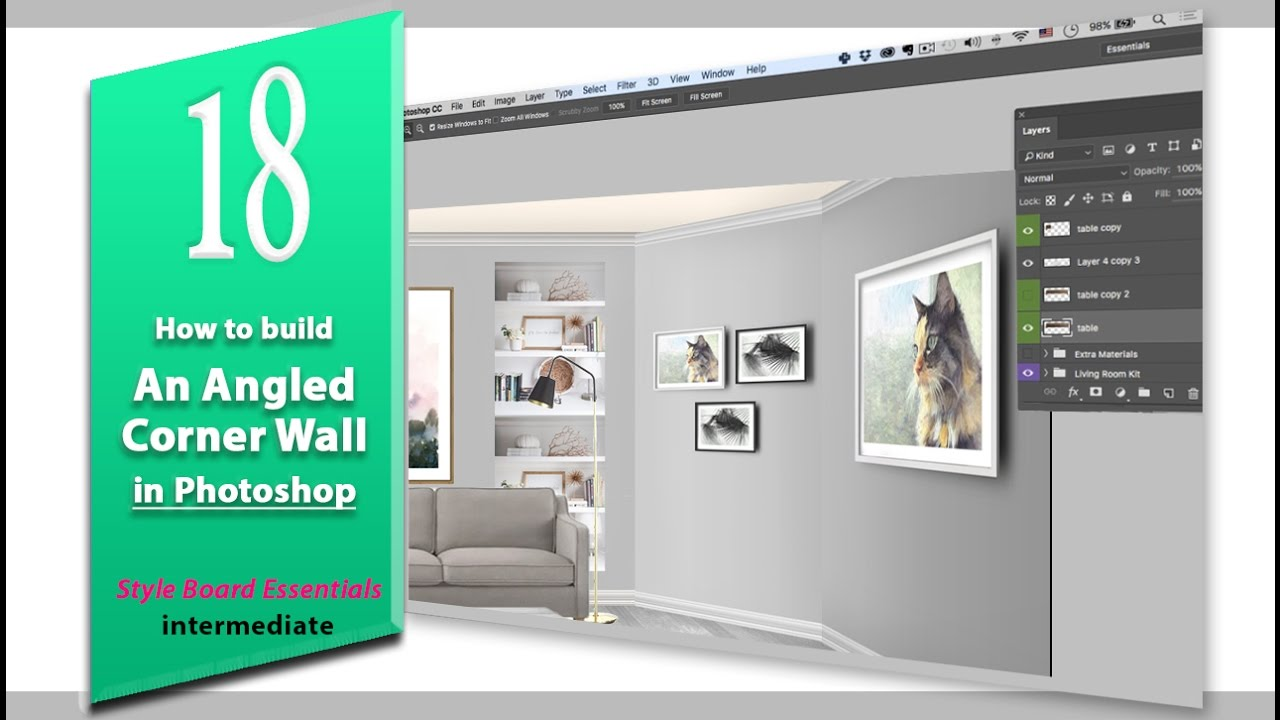 18 how to build an angled corner wall design board essentials how to build an angled corner wall design board essentials photoshop youtube baditri Images