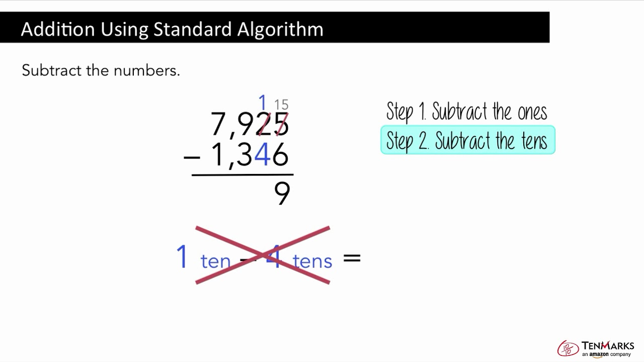 Subtraction Using Standard Algorithm: 4.NBT.4 - YouTube