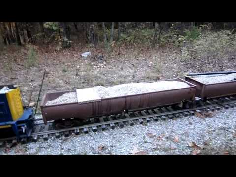 Ballasting the track on our 1/8 scale railroad.