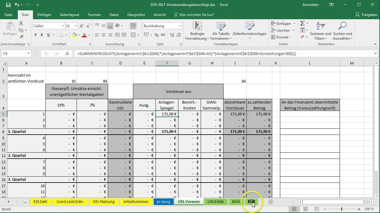 Excel-Vorlage-EÜR: Anlagevermögen übertragen und vorzeitiger ...
