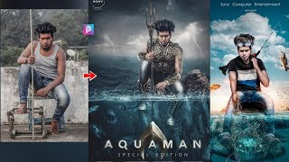 PicsArt Aquaman Special Movie Poster Photo Editing Tutorial Step By Step In Hindi In Picsart