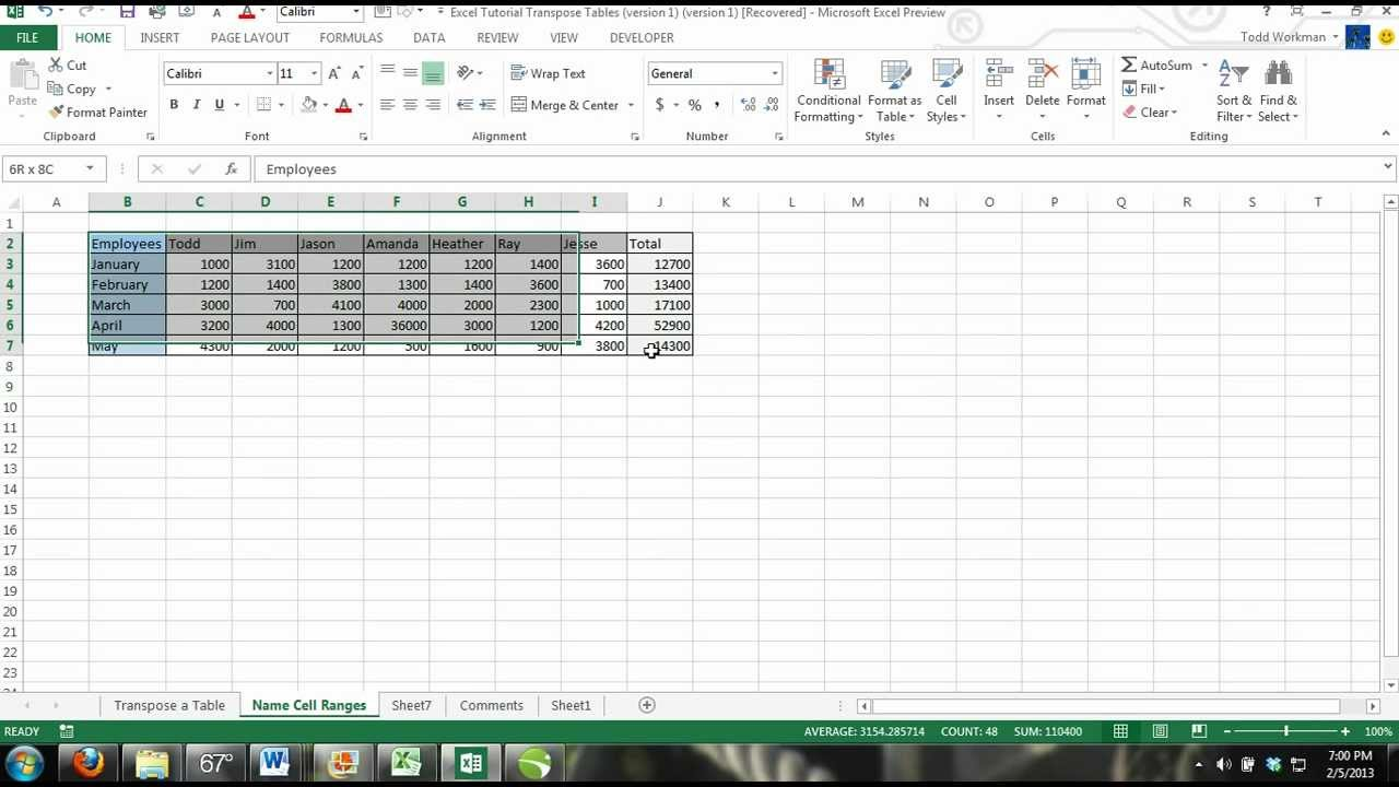 Excel Tutorial How To Transpose A Table In Excel Change