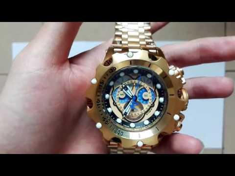 dbc79c859b0 ajuste cronômetro Relógio invicta venon dourado azul 16805 caixa ...