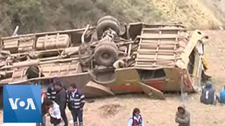 At least 19 people died when a bus went down a ravine in a mountain...