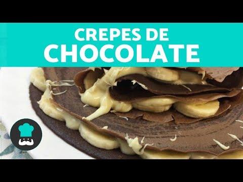 CREPES DE CHOCOLATE | Receta fácil PASO A PASO | Masa de crepes de chocolate CASERA