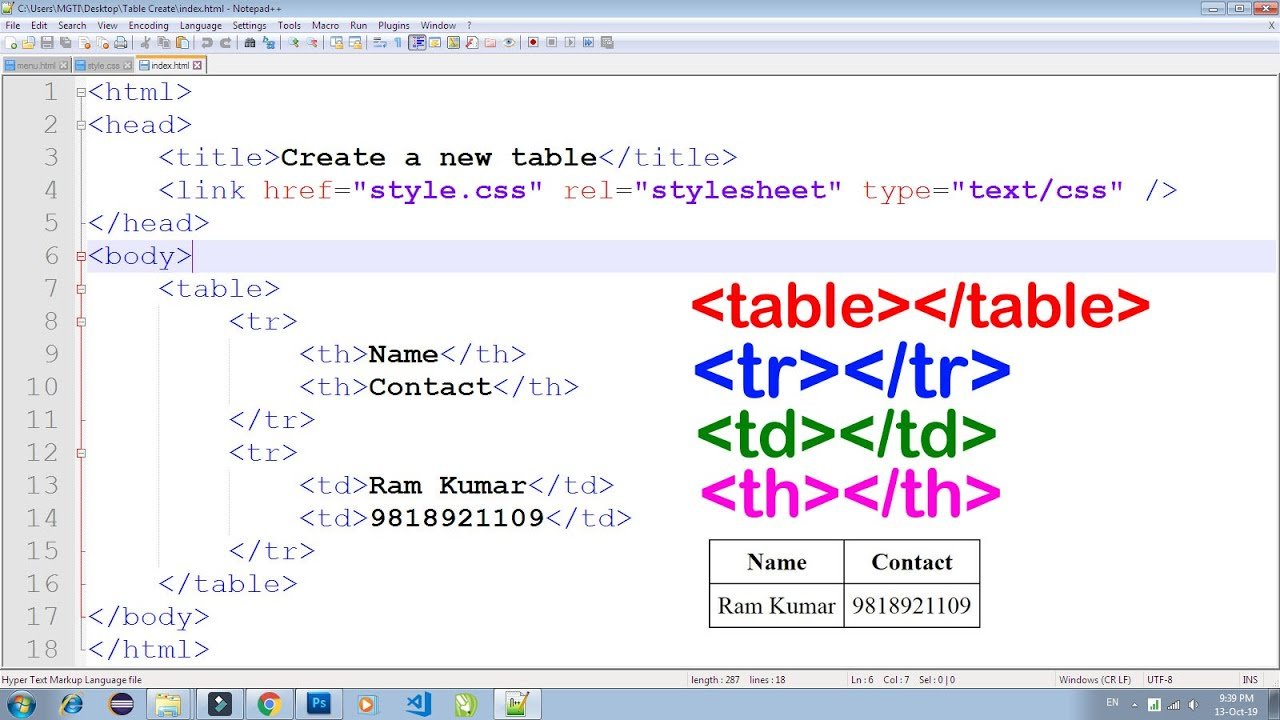 HTML TABLE, TR, TH, TD Use 20 Practical, How to Create table in HTML