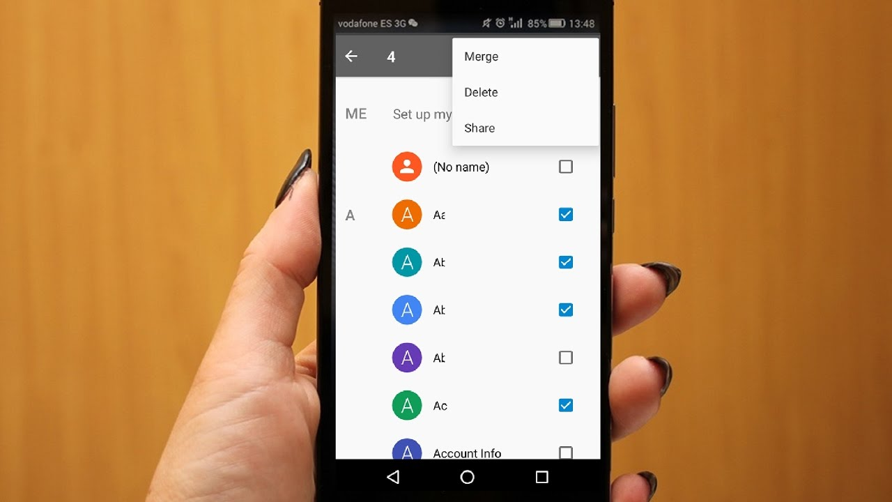 how to delete or all contacts in android phone no app