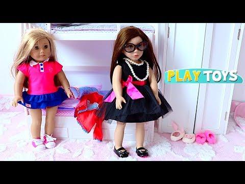 Baby Doll Hair Cut Shop - Playing American Girl doll hair salon & bedroom dress up closet & doll bed