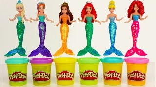 play doh disney princess dresses dress up mermaid cinderella ariel elsa frozen video for kids