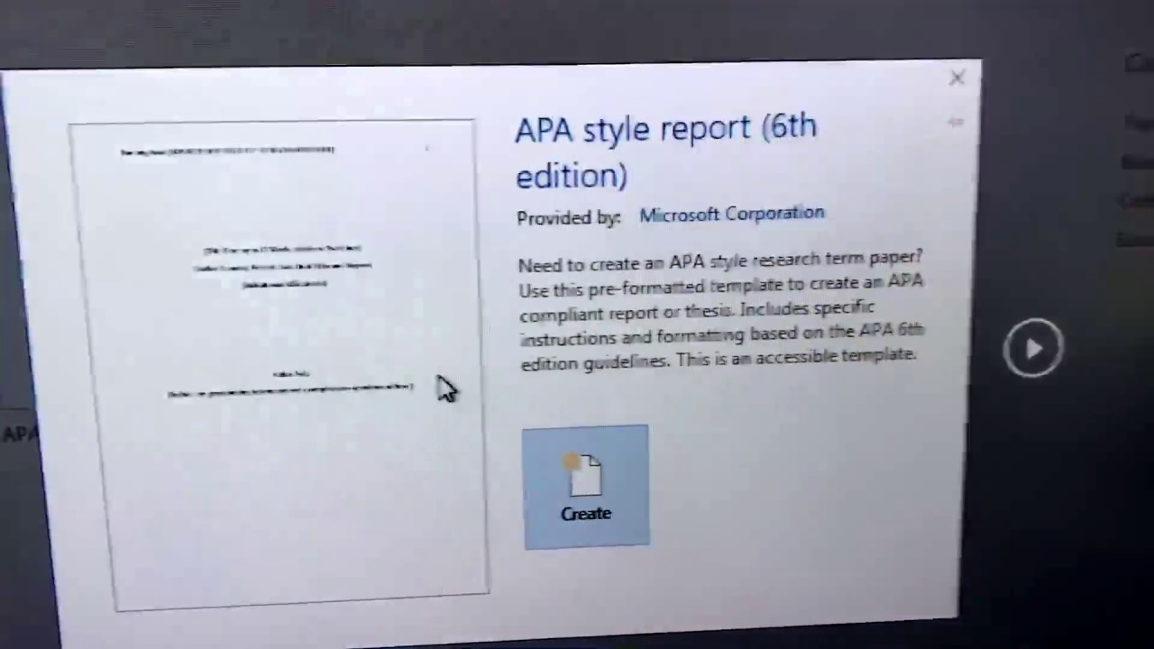 how to find apa 6th style template in ms word youtube