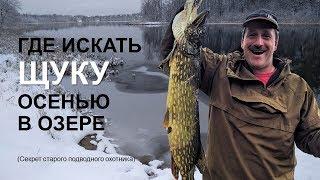 Где искать ЩУКУ осенью в озере Подводная охота на трофейную рыбу