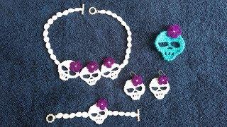 crochet, calaveritas a crochet (gargantilla, pulsera, pendientes)