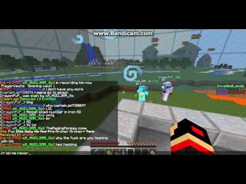 [InvadedLands]Minecraft hacker recorded... fly hacks speed hacks kill aura and anti knockback!