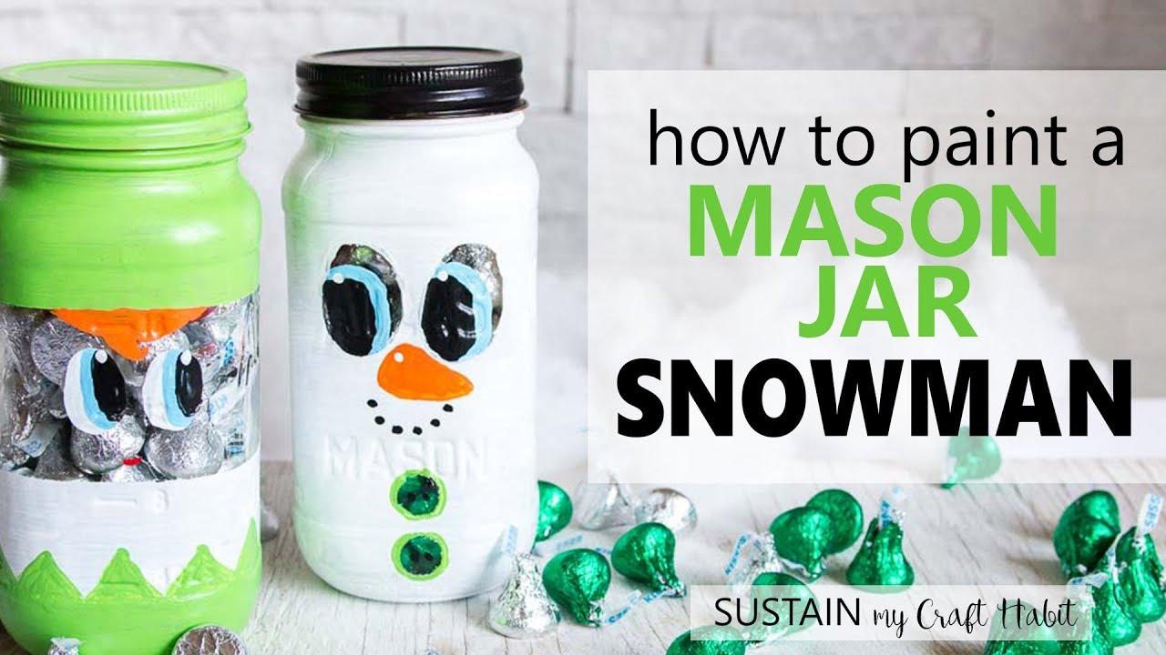 Secret Santa Gift Idea Painted Mason Jar Snowman Craft Christmas