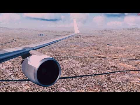 FSX Realism KLAX KDFW Dallas with crazy crosswind landing