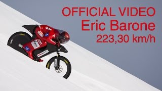 (OFFICIAL) Eric Barone - 223,30 km/h (138.752 mph) - World mountain bike speed record - VSC 2015(Eric Barone (a.k.a. The Red Baron) beat his own world speed record with a mountain bike on snow during Vars Speed Challenge 2015 (French alps) on the ..., 2015-03-30T05:43:15.000Z)