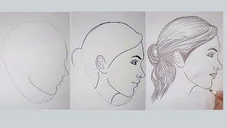 Learn to Sketch - Side Female Face in Egg Frame - Easy Drawing Videos | Drawing for Beginners