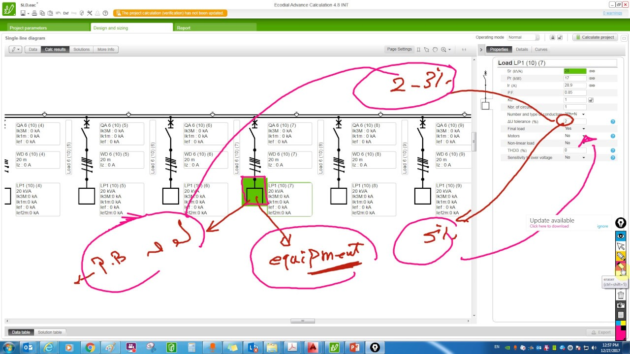 single line diagram calculation iec standard part 8 voltage drop calc  [ 1280 x 720 Pixel ]