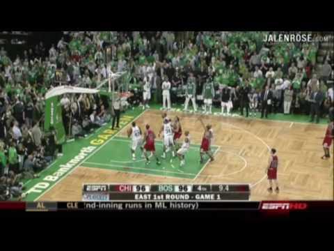 Bulls vs Celtics Game 1 2009 NBA Playoffs - Derrick Rose 36 pts - Jalen Rose on ESPN