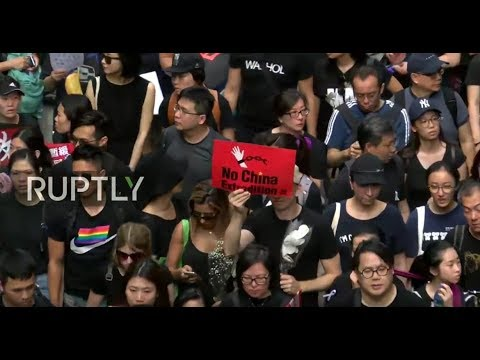 LIVE: Protesters hold mass rally in Hong Kong over extradition bill