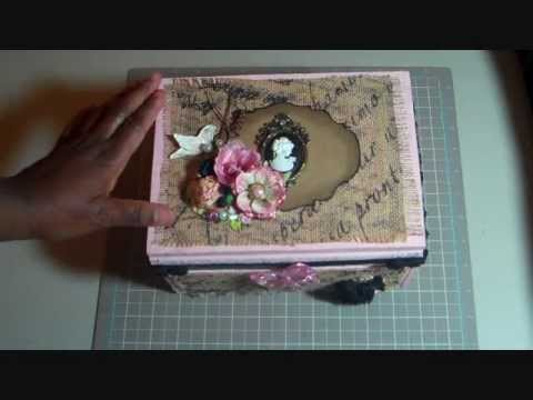 Burlap covered cigar box craft room storage youtube for Cigar boxes for crafts