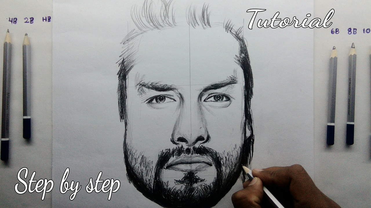 How to draw roman reigns step by step tutorial for beginners