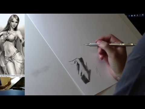 Live Stream - Wonder Woman (Gal Gadot) Portrait Pencil Drawing Part 1