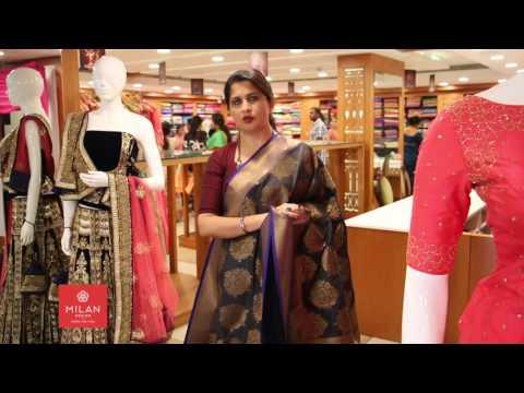 Black Banarasi Tesser Mix Fabric Saree - Milan Design