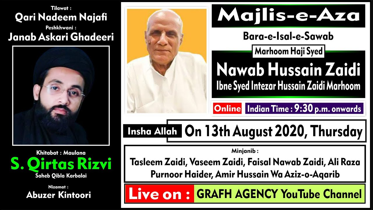 🔴 Online Majlis Bara-e-Sawab | Haji Syed Nawab Hussain Zaidi | Maulana Qirtas Rizvi Karbalai Saheb