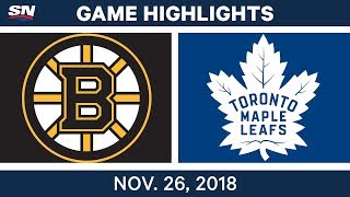 NHL Highlights | Bruins vs. Maple Leafs - Nov 26, 2018