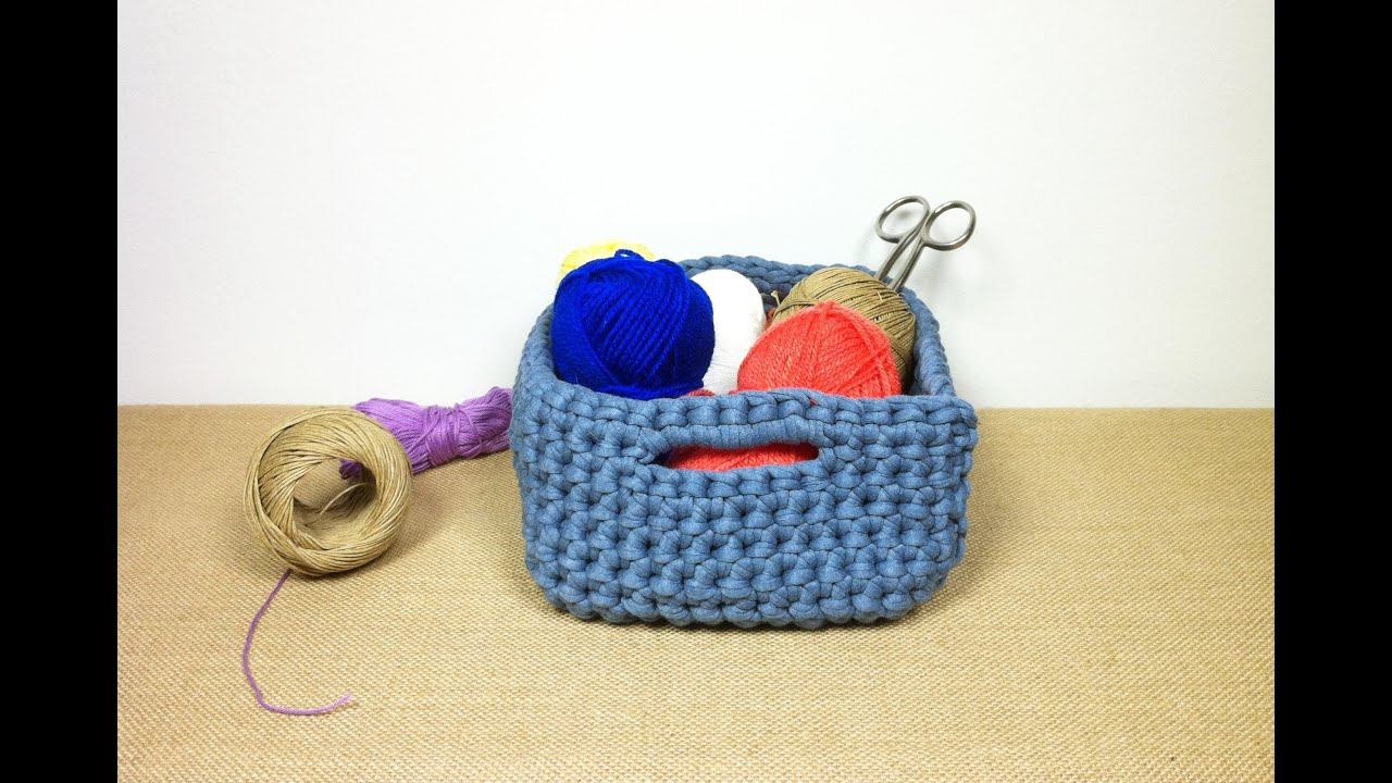 How to crochet a t shirt yarn basket diy tutorial youtube bankloansurffo Image collections