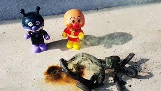 アンパンマン アニメ❤おもちゃ バイキンマンと一緒にお外で花火! Toy Kids トイキッズ animation anpanman