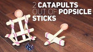 2 catapults out of popsicle sticks
