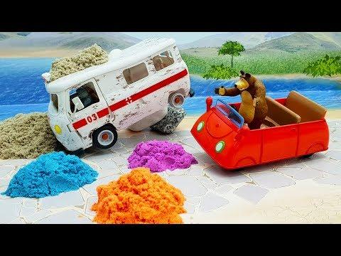 Видео для детей с игрушками - Волк заболел! Мультик про скорую помощь Мишку и волков 2019