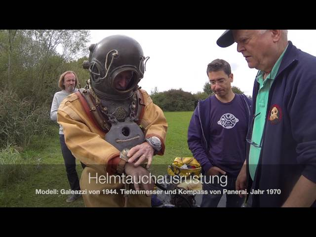 Diving with historical equipment. Supported by a german special force diver